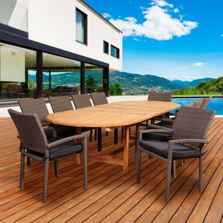 Amazonia Virginia Beach 11 Piece Double Extendable Dining Set with Cushions