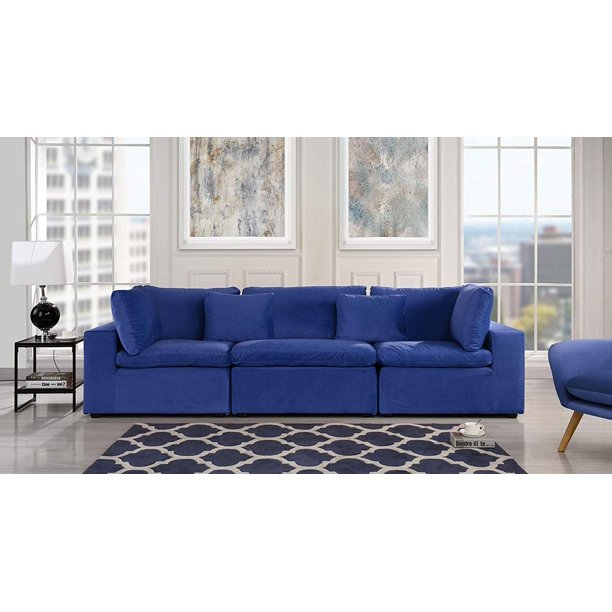 Large Classic Living Room Velvet Sofa Dark Blue Walmart Com Walmart Com