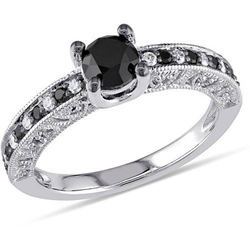 1 Carat T.W. Black and White Diamond Sterling Silver Engagement Ring by