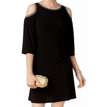 MSK NEW Black  Women Size Small S Cold Shoulder Shimmer Trim Shift Dress](Shimmer Dresses)