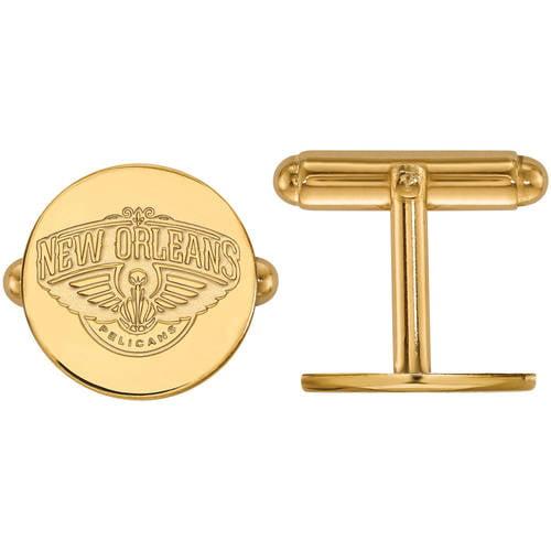 LogoArt NBA New Orleans Pelicans 14kt Yellow Gold Cuff Links