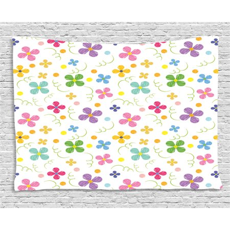 Kids Tapestry, Spring Inspired Sketch Art Style Daisy Blossoms and Dots in Lively Colors Fun Nature, Wall Hanging for Bedroom Living Room Dorm Decor, 60W X 40L Inches, Multicolor, by Ambesonne