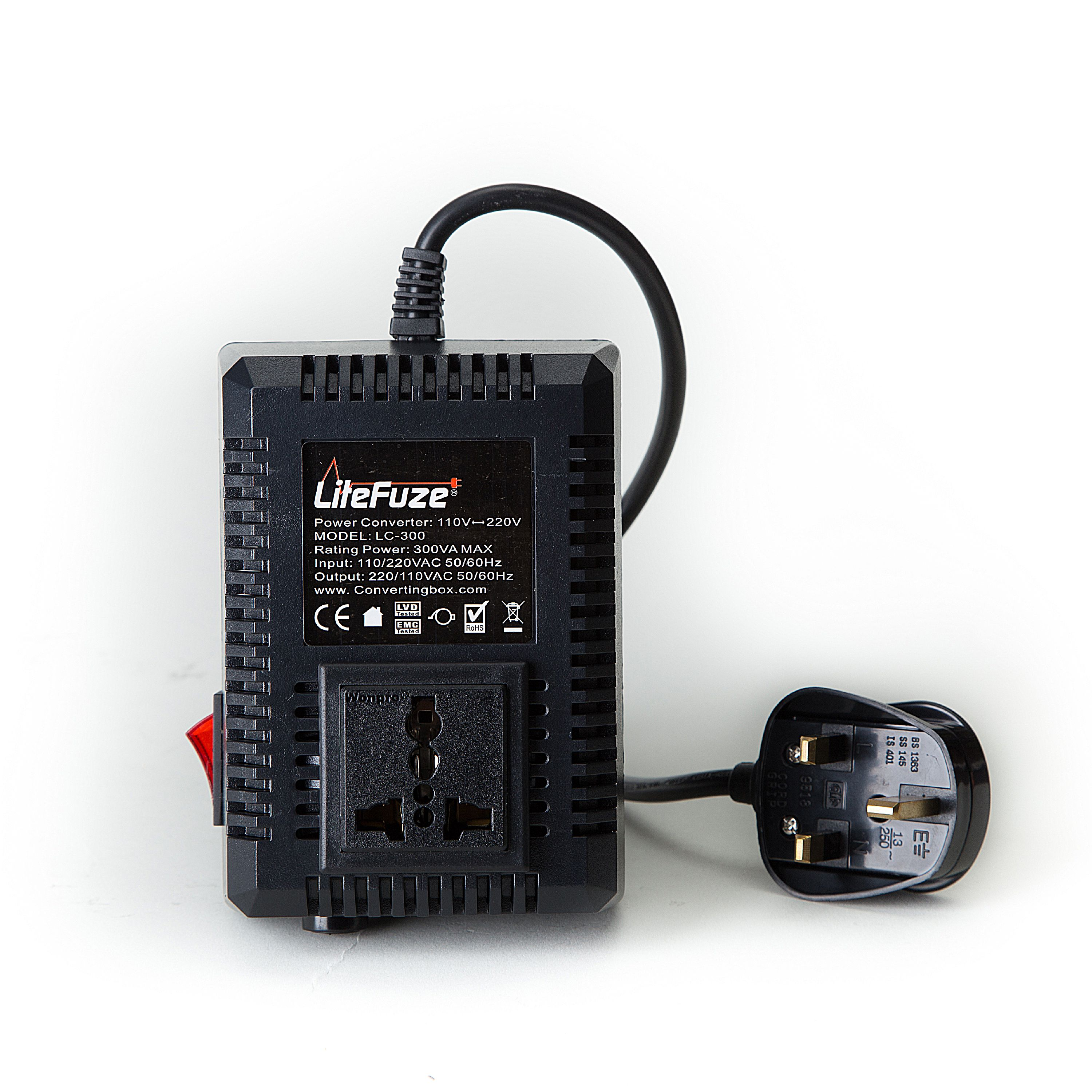 LiteFuze LC-300UK 300Watt Step Up/Down Travel Voltage Converter, UK Cord