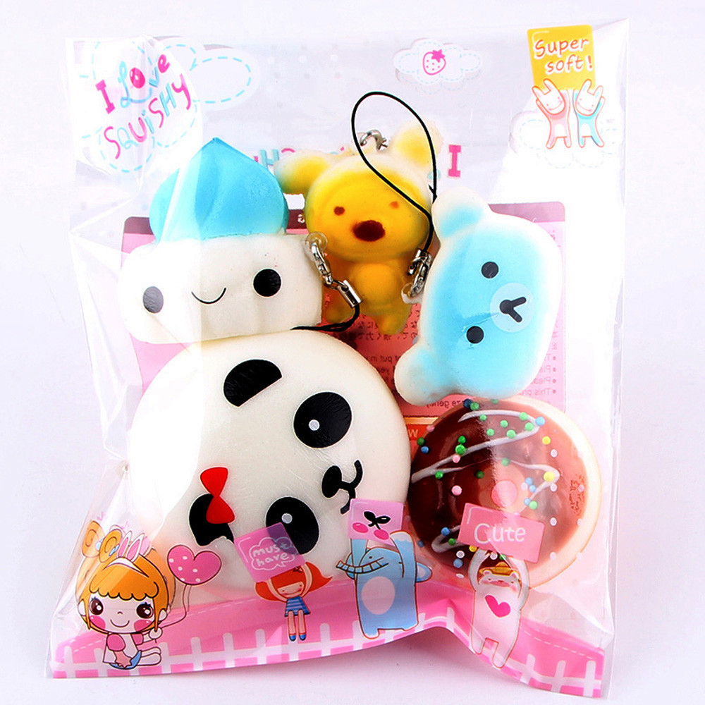 Iuhan 5pcs Medium Mini Soft Bread Toys Key Slow Rising Squeeze Toys Collection
