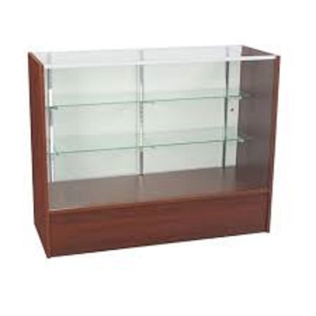 - RETAIL GLASS DISPLAY CASE FULL VISION WALNUT 4' SHOWCASE