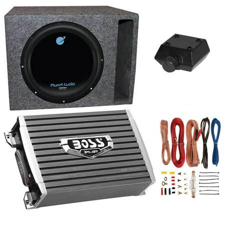 Planet Audio 1800W Subwoofer + Boss 1500W Amplifier w Amp Kit +Q-Power Enclosure ()