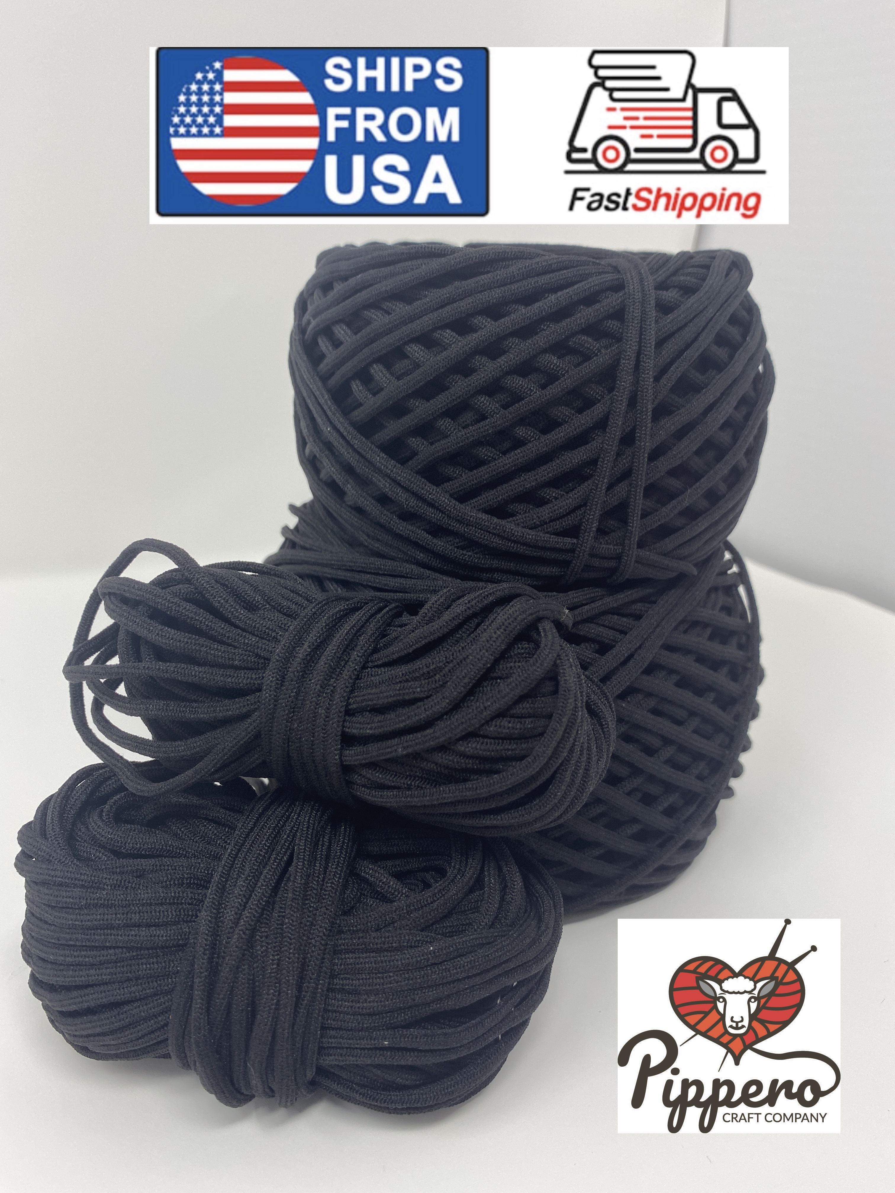 Pippero Black 3mm 1 8 Inch Elastic Cord Band For Face Mask For Mask Making Sewing Diy Black Usa Nextday Ship 20