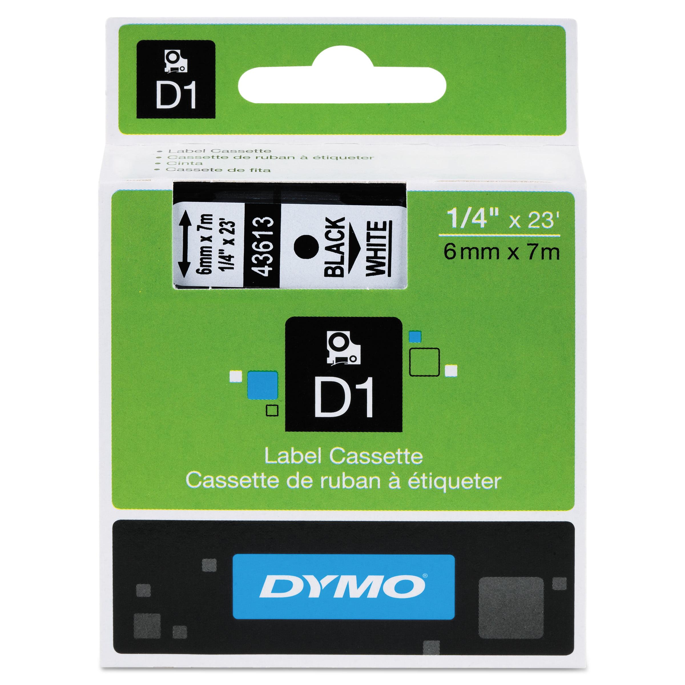 6mm 1//4/'/' Black on White 43613 Tape For Dymo D1 Label Maker LabelManager 100 150