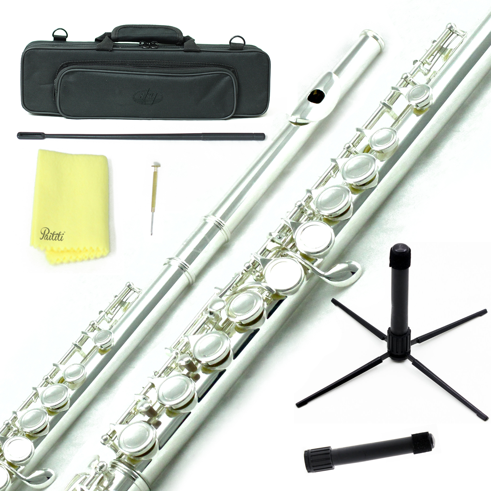 Sky Closed Hole C Flute with Lightweight Case, Cleaning Rod, Cloth, Joint Grease and Screw Driver - Silver