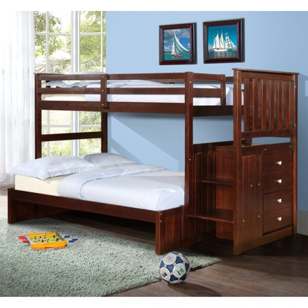 Donco Twin over Full Stairway Bunk Bed - Dark Cappuccino