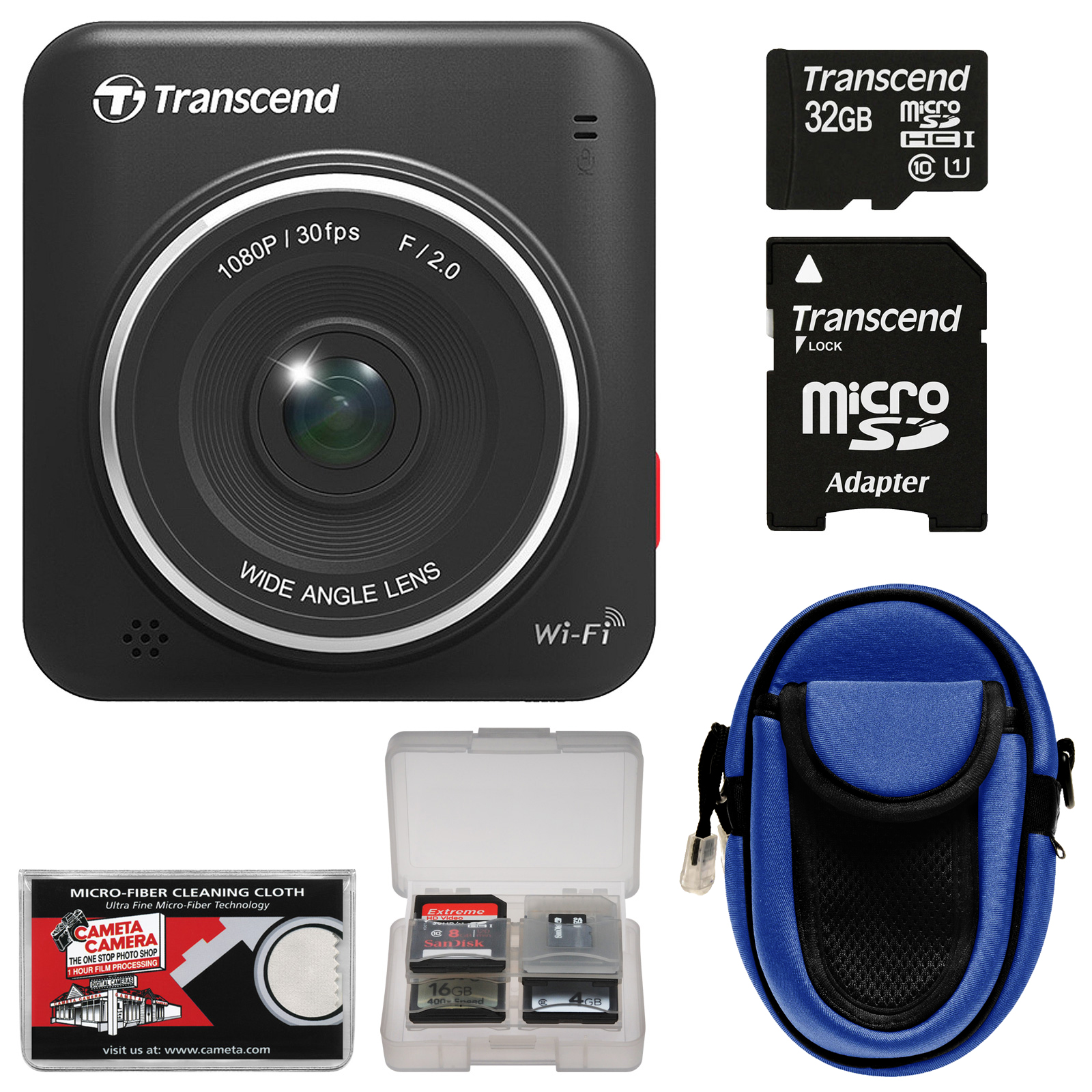 Transcend DrivePro 200 1080p Full HD Car Dashboard Video Recorder with Mount   32GB Card   Case   Accessory Kit