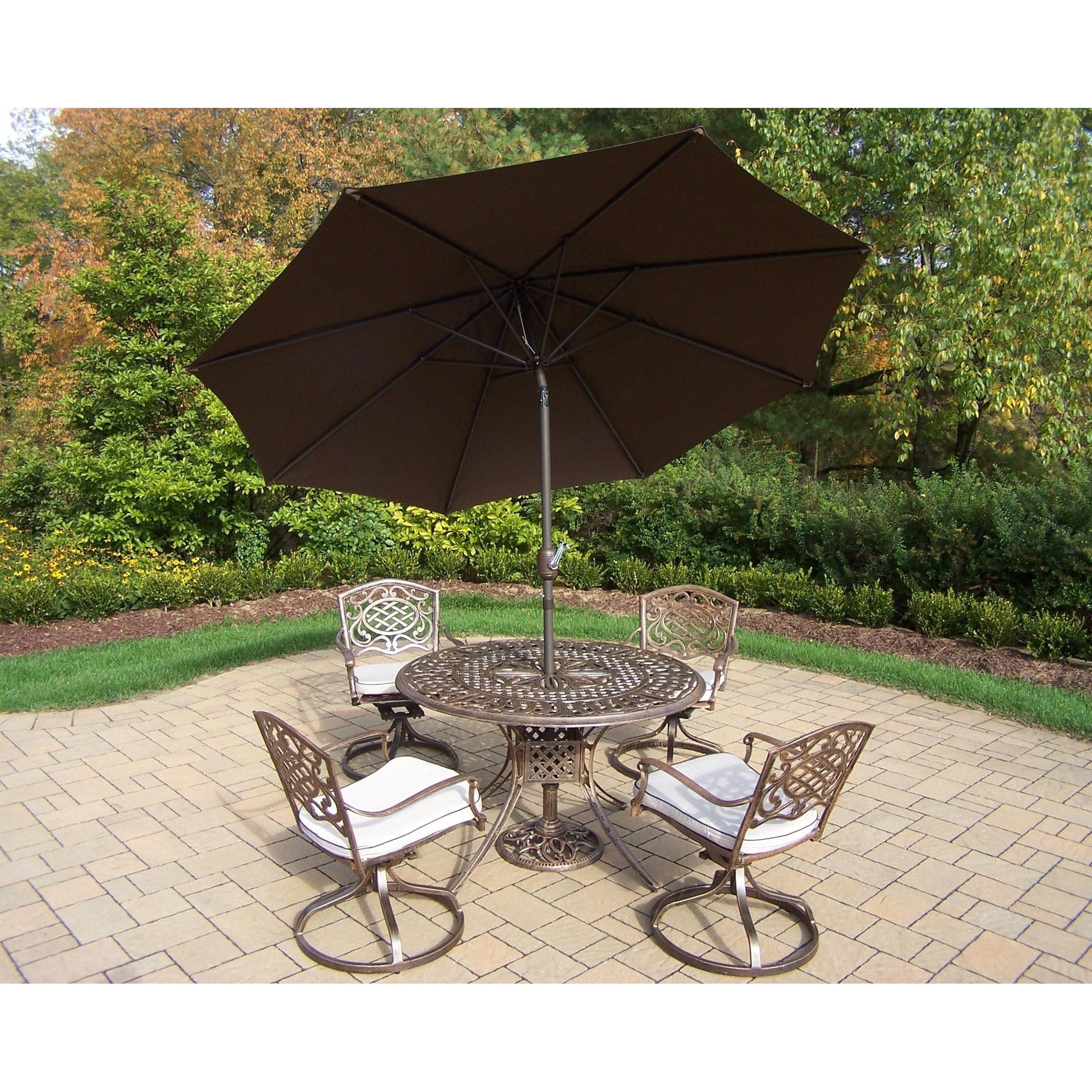 Oakland Living Corporation Dakota Antique Bronze 7-piece Umbrella Patio Dining Set