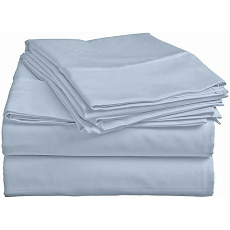 Pacific Linens Bed Sheet Set Deep Pocket Comfort   Poly Cotton Blend   Hypoallergenic, Wrinkle, Fade&Stain Resistant   300 Thread Count   4 Piece   Cal King Size   Sky Blue