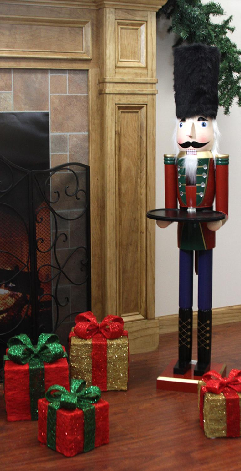 "48"" Decorative Red Solider Wooden christmas Nutcracker Butler with Tray"