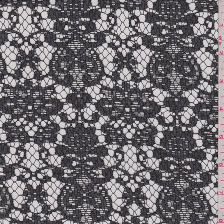 Charcoal Grey Floral Nylon Lace, Fabric By the - Nylon Grain