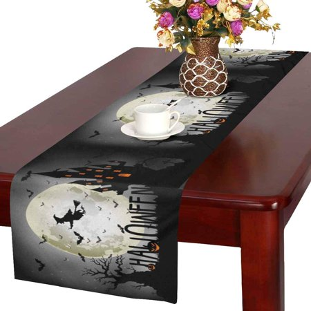 MKHERT Halloween Background of Witch On The Full Moon Table Runner for Office Kitchen Dining Wedding Party Banquet 16x72 Inch (The Background Of Halloween)