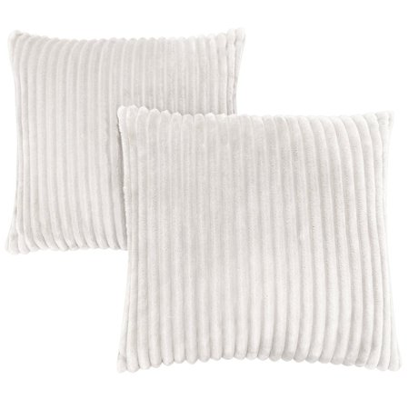 Monarch Faux Fur Throw Pillow in Ivory (Set of 2) ()