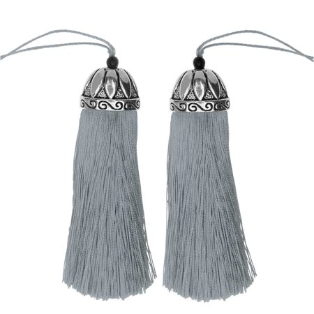Zola Elements Tassel, Polyester Thread with Decorative Bell Cap 80mm, 2 Pieces, Antiqued Silver and (Tassi Headband)