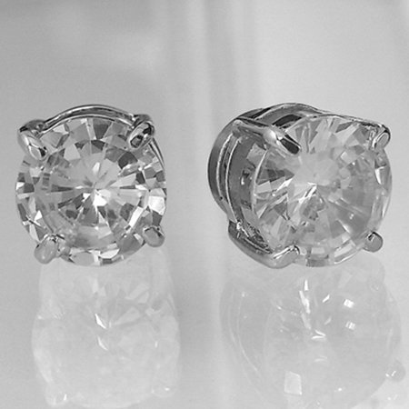 Bling Men 8mm White Gold Plated Cz Earrings