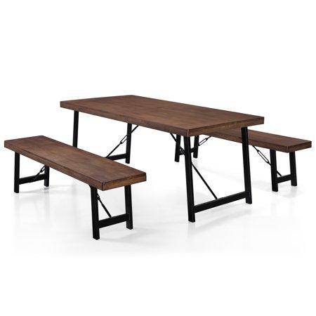 Surprising Blane Farmhouse Cottage 3 Piece Rubberwood Table And Bench Set Natural Walnut Finish Machost Co Dining Chair Design Ideas Machostcouk