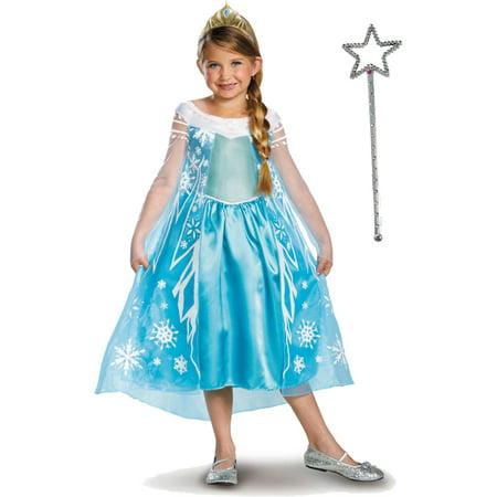 Kids Deluxe Disney Frozen Elsa Princess Costume Tiara And Wand Bundle