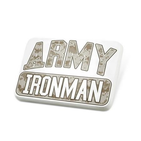 Porcelein Pin ARMY Ironman, Camo Lapel Badge – NEONBLOND
