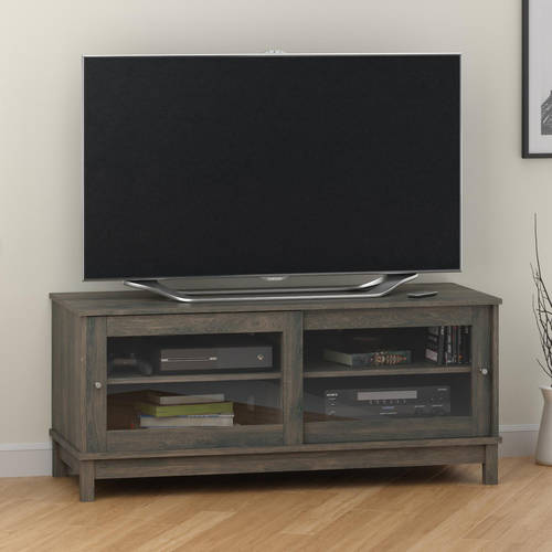 "Mainstays 55"" TV Stand with Sliding Glass Doors, Multiple Colors"