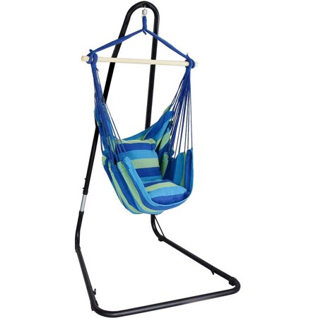 Sorbus Hanging Rope Hammock Chair Swing Seat With Stand For Indoor