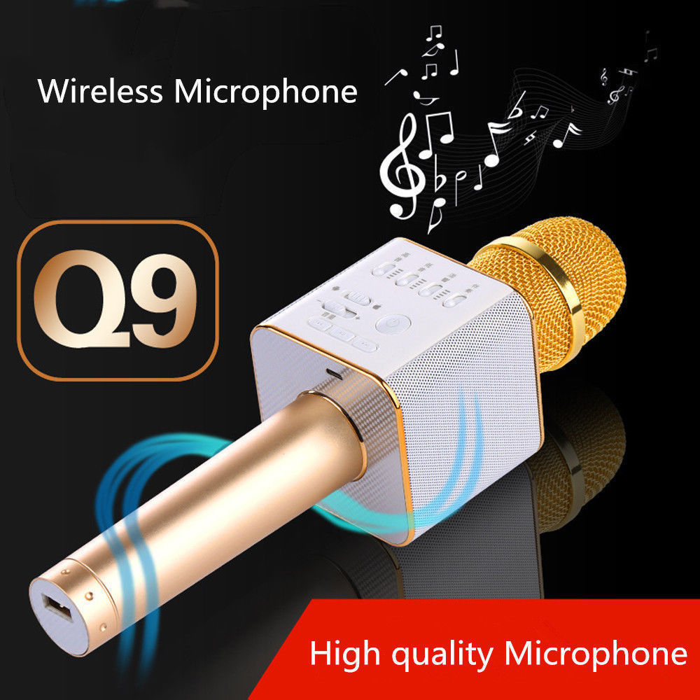 Hot Bluetooth 4.0 Microphone Super Bass Wireless 2600Mah Mobile Phone Karaoke Microphone Handheld KTV Singing Speaker Microphone Karaoke Machine for IOS for Android, Gold
