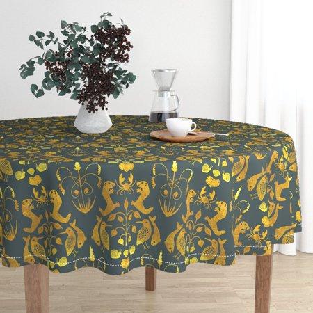 Round Tablecloth Damask Otter Gilt Gold Victorian Animals Fish Cotton