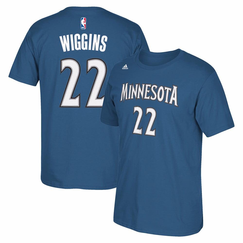 Andrew Wiggins Minnesota Timberwolves NBA Adidas Blue Player Name & Number Team Jersey  T-Shirt For Men