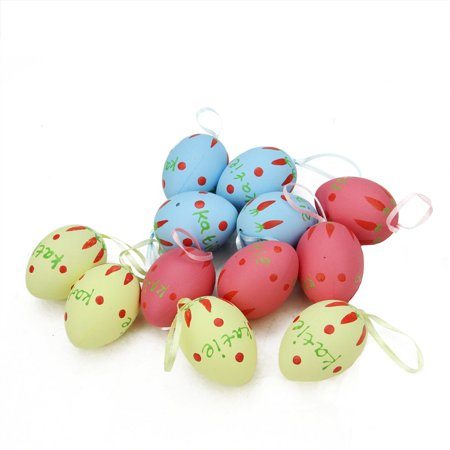 Set of 12 Pastel Yellow Blue and Pink Spring Easter Egg Ornaments 2.25