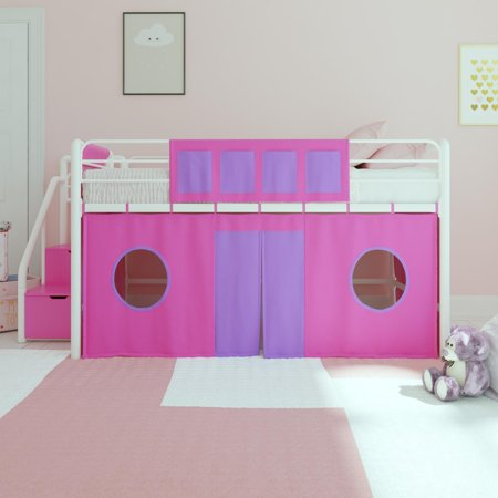 DHP Junior White Loft Bed with Pink Storage Steps and Pink Curtain Set, Kid's Bundle, Twin