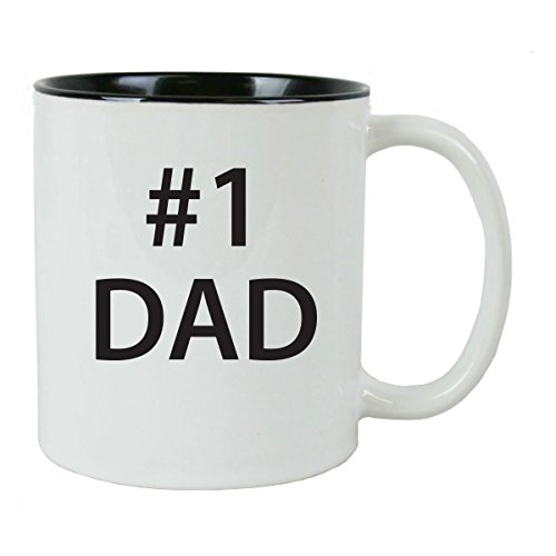 #1 Dad 11 oz White Ceramic Coffee Mug (Black) with Gift Box - Great Gift for Father's Day, Birthday, or Christmas Gift for Dad, Grandpa, Grandfather, Papa, Husband