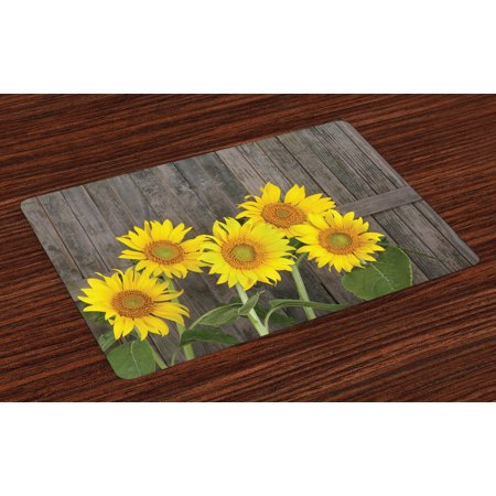 - Sunflower Placemats Set of 4 Helianthus Sunflowers Against Weathered Aged Fence Summer Garden Photo, Washable Fabric Place Mats for Dining Room Kitchen Table Decor, Brown Yellow Green, by Ambesonne
