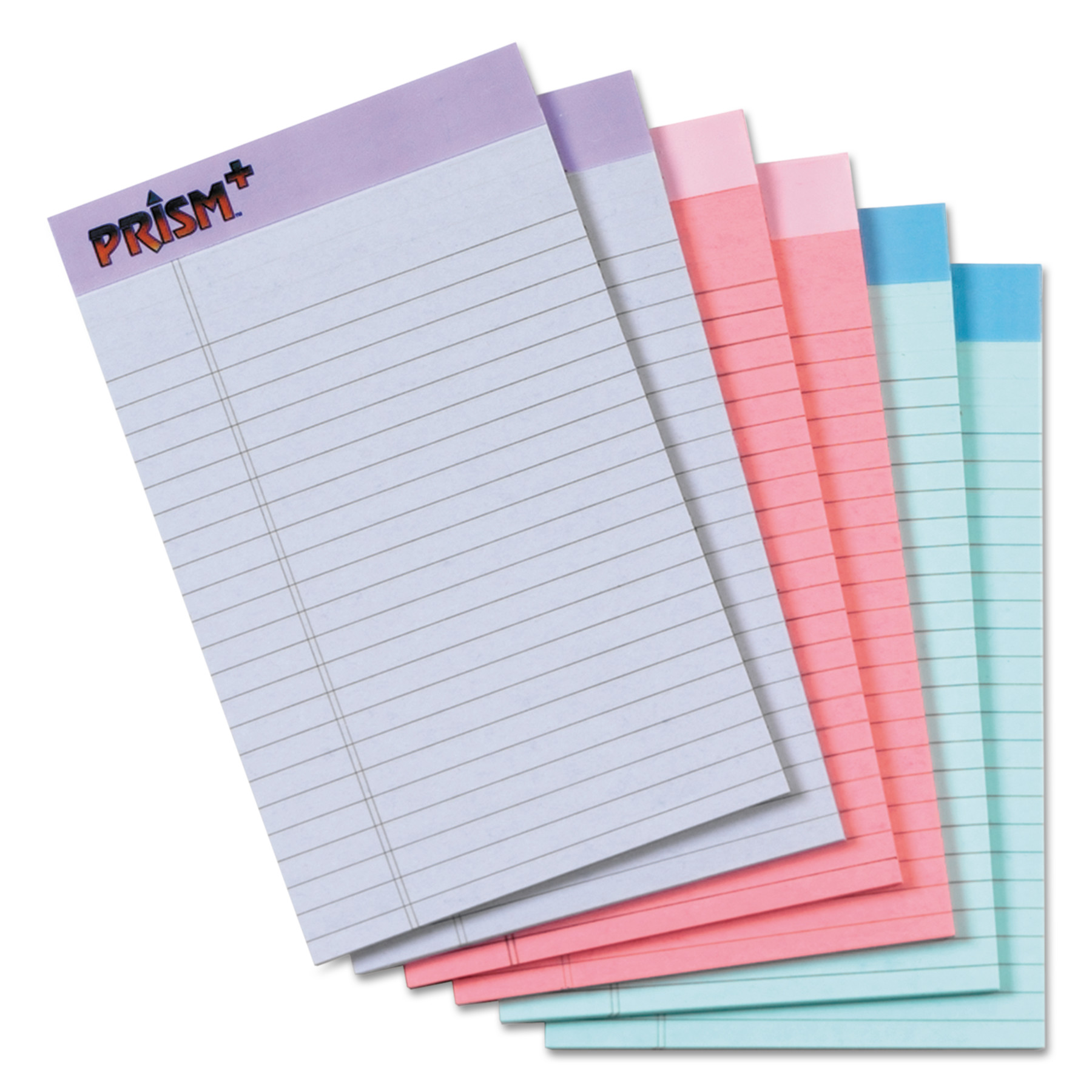 TOPS Prism Plus Colored Legal Pads, 5 x 8, Pastels, 50 Sheets, 6 Pads/Pack -TOP63016