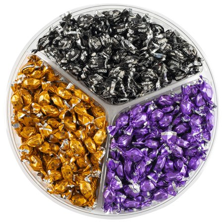Halloween Fruit Tray (Halloween Candy Combo - Halloween-Themed Gift Tray with Black, Orange and Purple Color Foil Mini Candies with Fruit-Filled Flavors (Kosher, NET WT 600g, About 310 Pieces) 1 Tray 3-Color Combo)