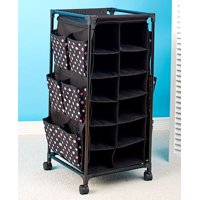 24 Pair Shoe Cubby Stylish Rolling Storage Unit Cart (Pink Dots)