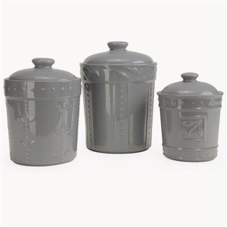 Sorrento Gray Sorrento Ceramic Gray Canister Set, 3 Piece