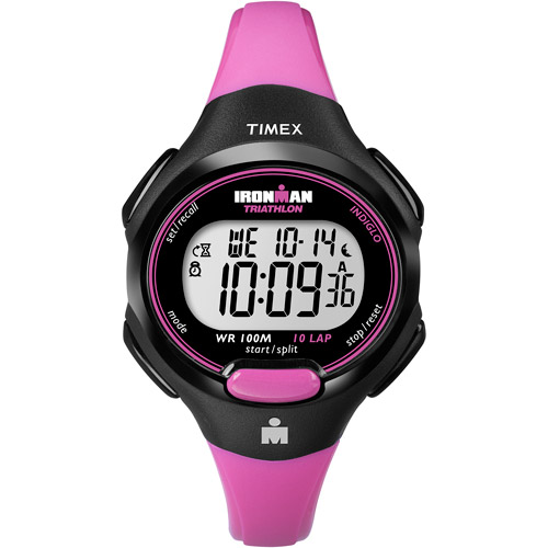 Timex Women's Ironman Essential 10 Mid-Size Watch, Pink Resin Strap