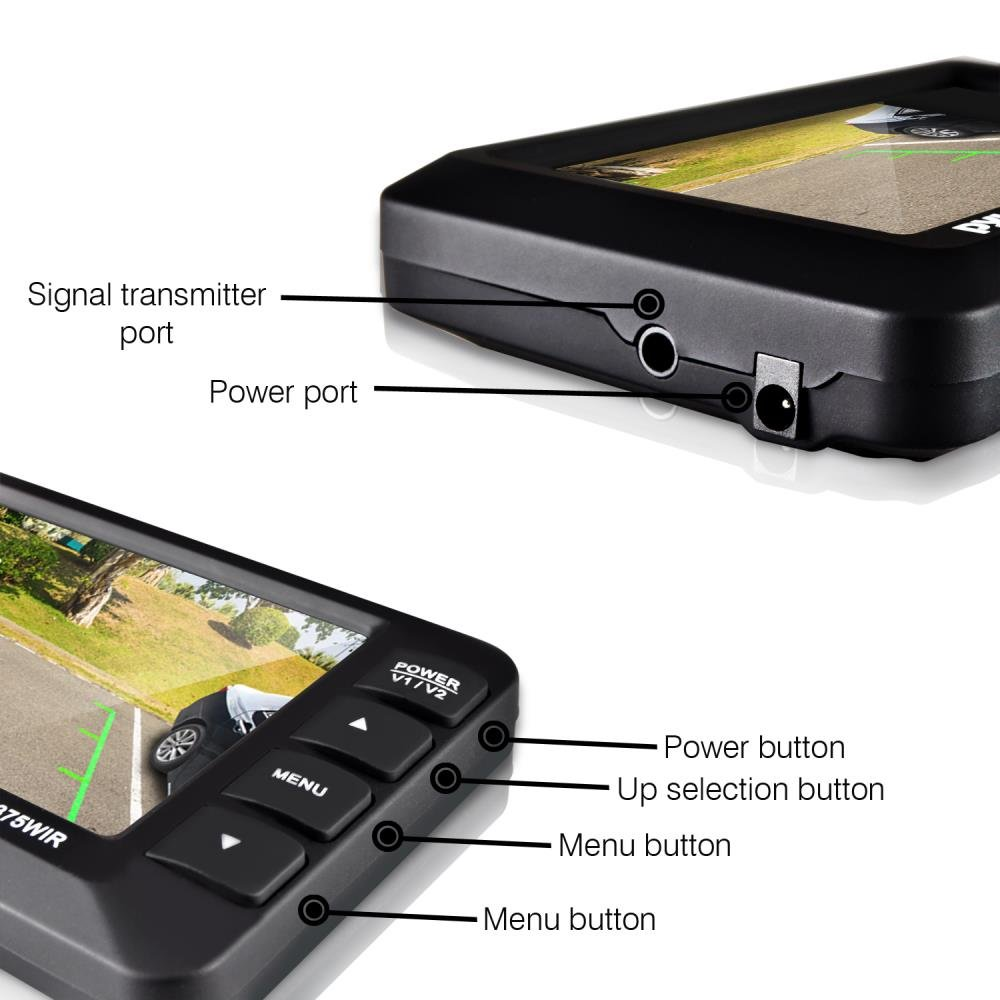 """Pyle PLCM4375WIR/_0 Sound Around 4.3/"""" LCD Monitor Built-in Distance Scale Lines Parking//Reverse Assist w//Adjustable Slim Bar Cam Marine Grade Waterproof Night Vision LEDs Wireless Rear View Backup Camera"""
