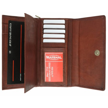 Detachable Id Window - Ladies Genuine Leather Checkbook Wallet Organizer with Detachable Sleeve and ID Window 5575 CF