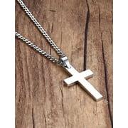 Stainless Steel Cross Pendant Chain Necklace for Men Women Jewelry Gift HFON