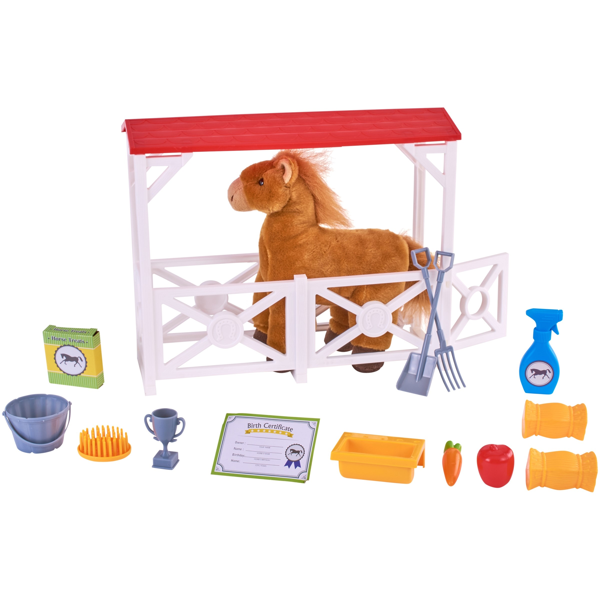 Stable with Horses Farm Barn Play Set Kid Pretend Play Toy Action Figure Playset