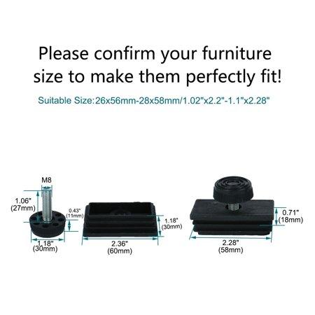 Leveling Feet 30 x 60mm Rectangle Tube Inserts Kit Furniture Glide Adjustable Leveler for Desk Table Sofa Leg 8 Sets - image 1 de 7