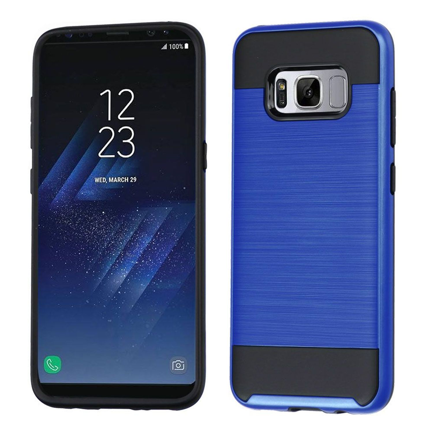 Samsung Galaxy S8 Case, by Insten Dual Layer [Shock Absorbing] Hybrid Hard Plastic/Soft TPU Rubber Case Phone Cover For Samsung Galaxy S8, Blue/Black