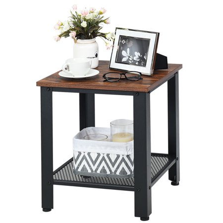 Gymax Industrial End Table 2-Tier Side Table W/Storage Shelf Rustic Sofa Table Black - image 7 of 9