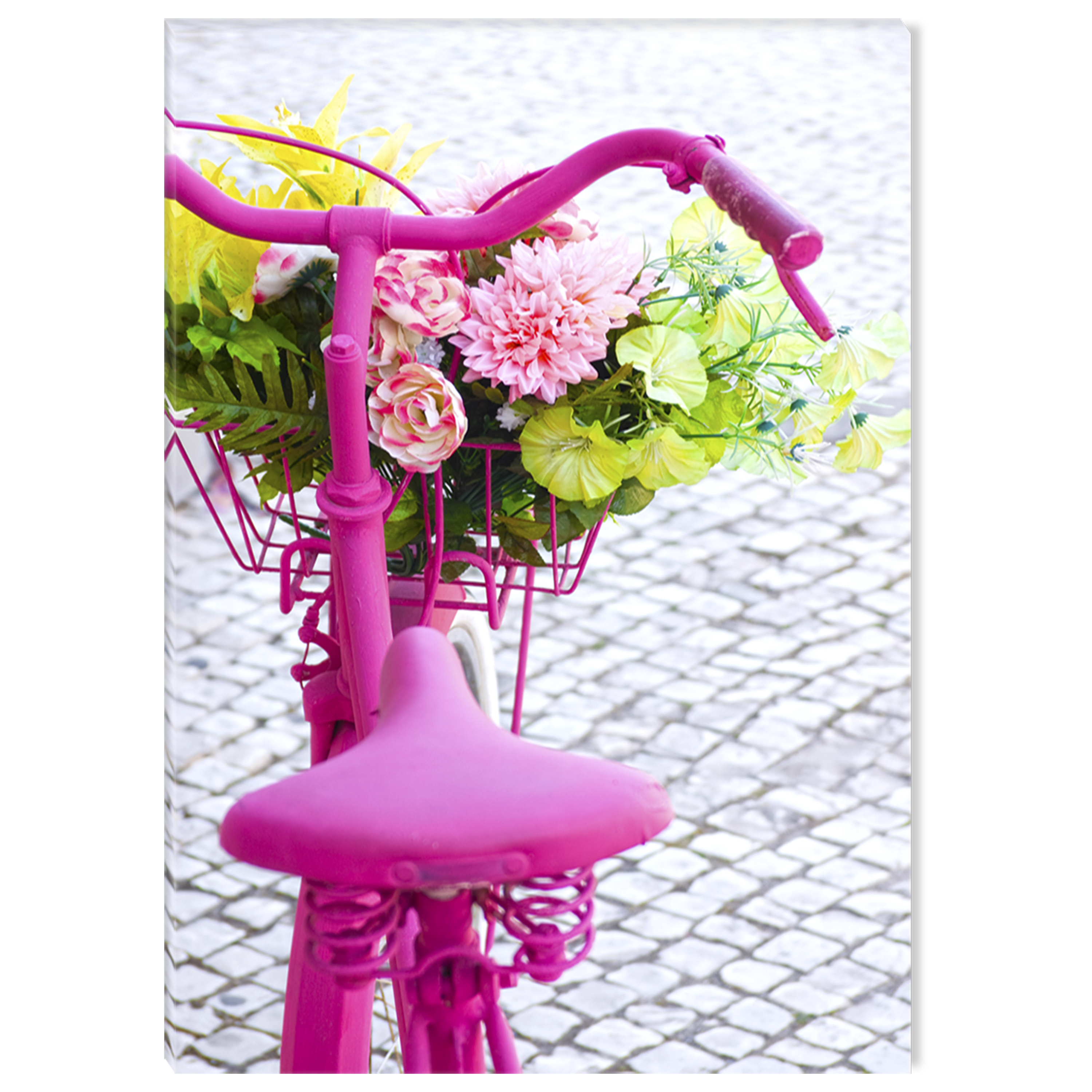 Startonight Canvas Wall Art Pink Bike USA Design for Home Decor, Illuminated Love Painting Modern Canvas Artwork Framed Ready to Hang Medium 23.62 X 35.43 inch