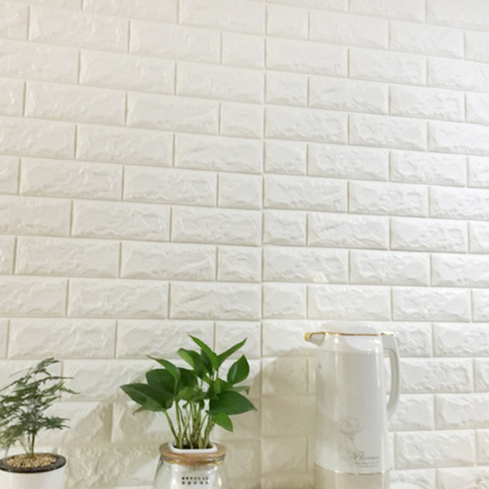 Peel and Stick 3D Wall Panels, PE Foam White Brick Wallpaper, Set of 10 (58 Sq.ft)