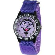 Count von Count Boys' Black Plastic Time Teacher Watch, Purple Hook and Loop Nylon Strap